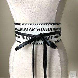 Contrast Whipstitch Obi wrap tassels belt